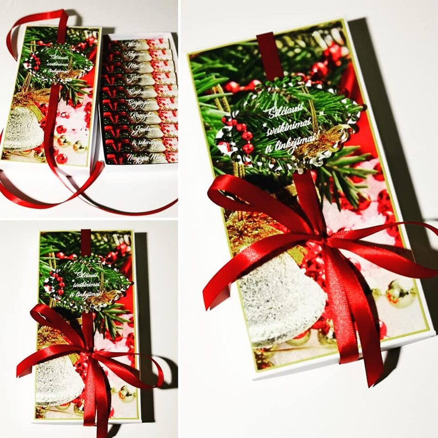 Kalėdinis sveikinimas dekoruotoje dėželėje -1