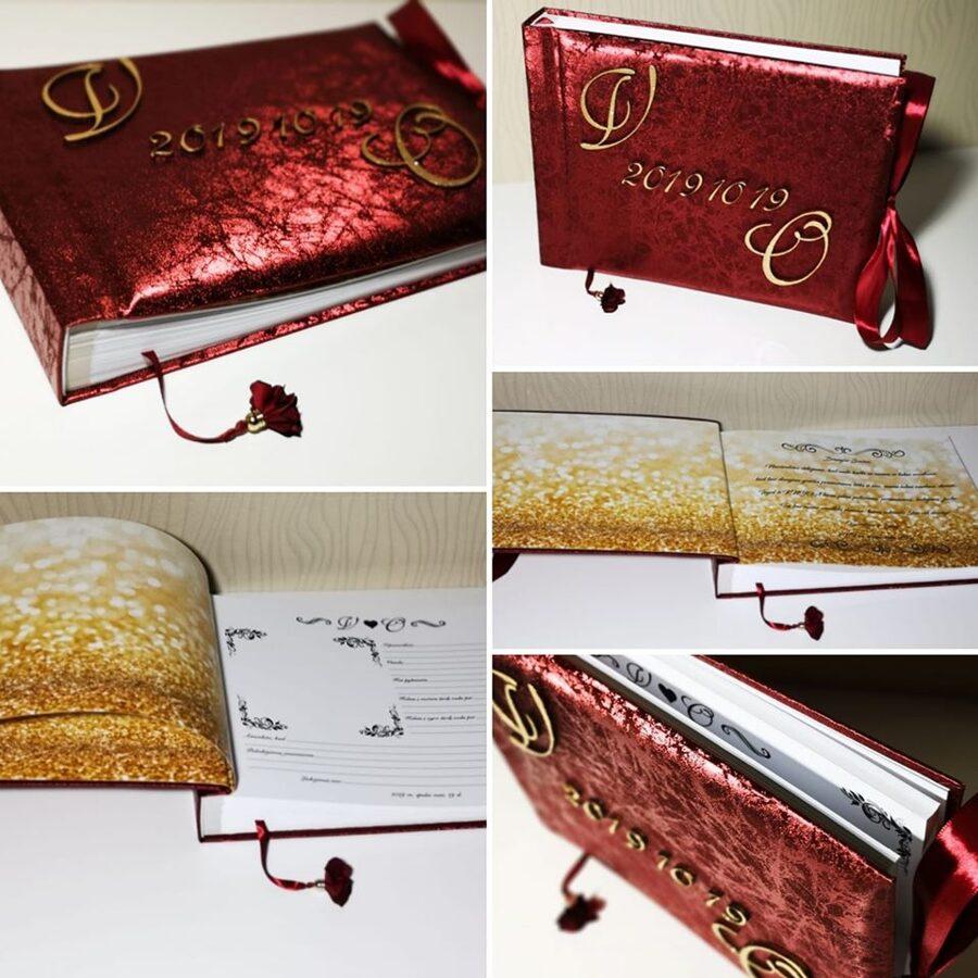Bordo knyga su paauksuotais mediniais inicialais ir data
