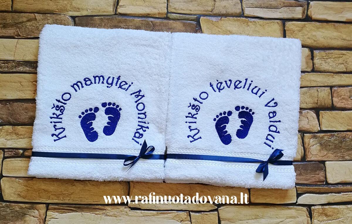 Siuvinėti rankšluosčiai (pėdutės/balti)