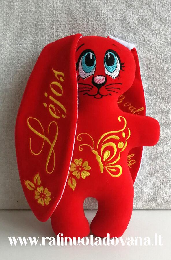 Kiškutis - raudonas su drugeliu ir vardu