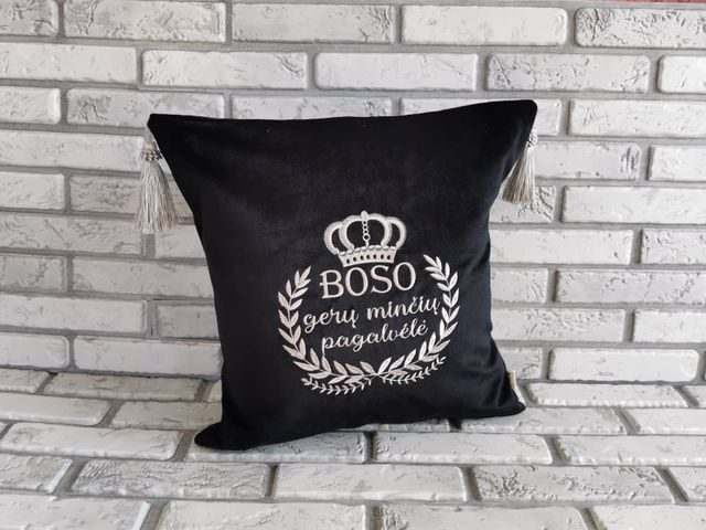 Boso gerų minčių pagalvėlė (siuvinėta sidabru)