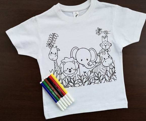 Spalvinimo marškinėliai su nuplaunamais flomasteriais Nr.1