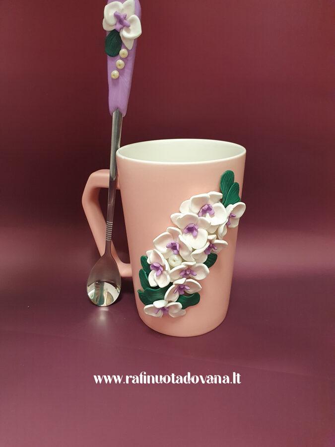 Puodelio ir šaukštelio rinkinys - Orchidėjos