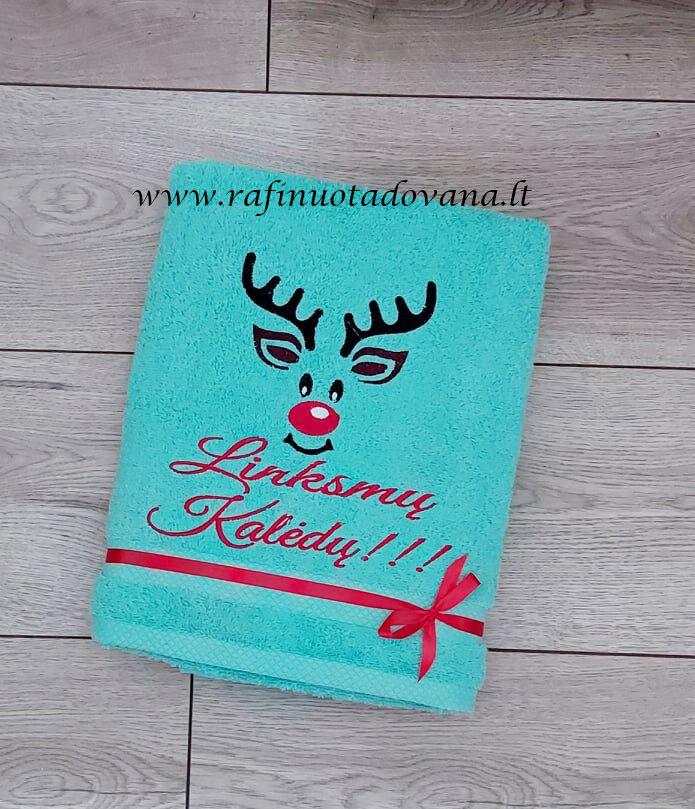 Siuvinėtas rankšluostis (Linksmų Kalėdų elnias)