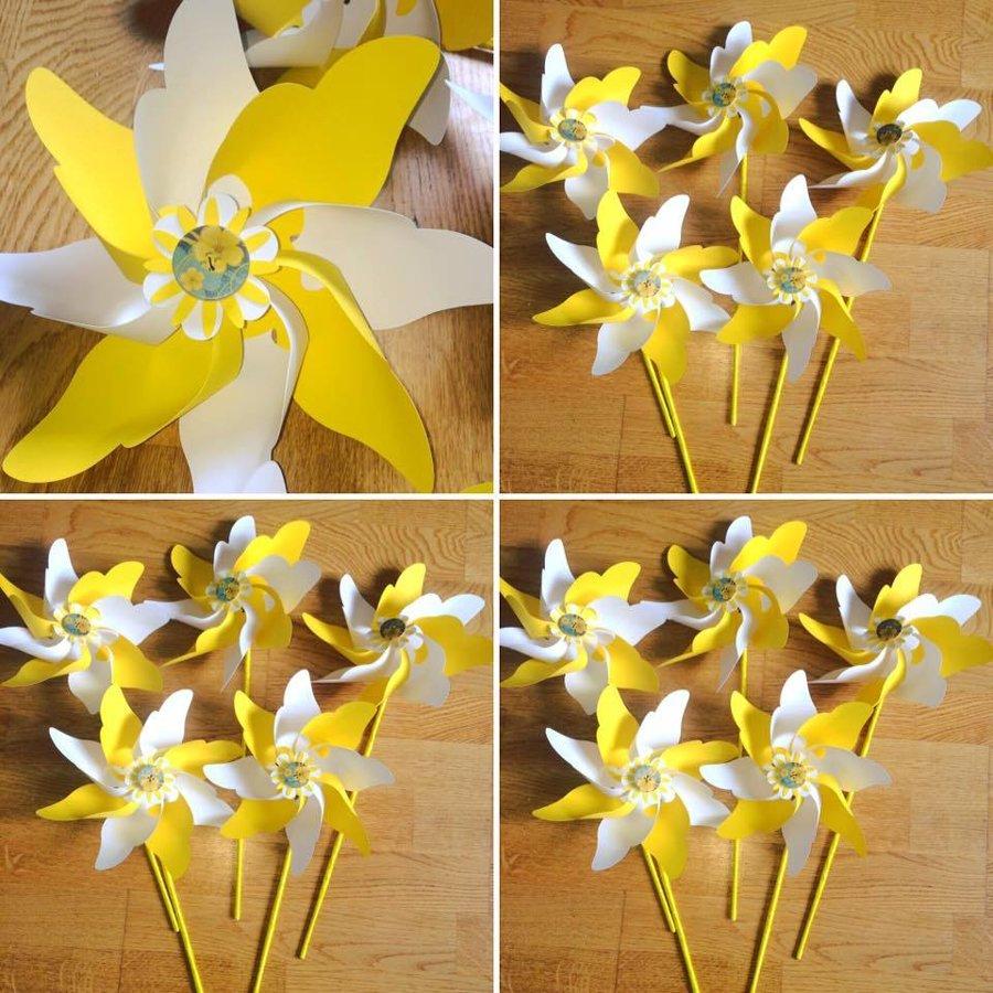 Vėjo malūnėliai (geltoni su baltu)
