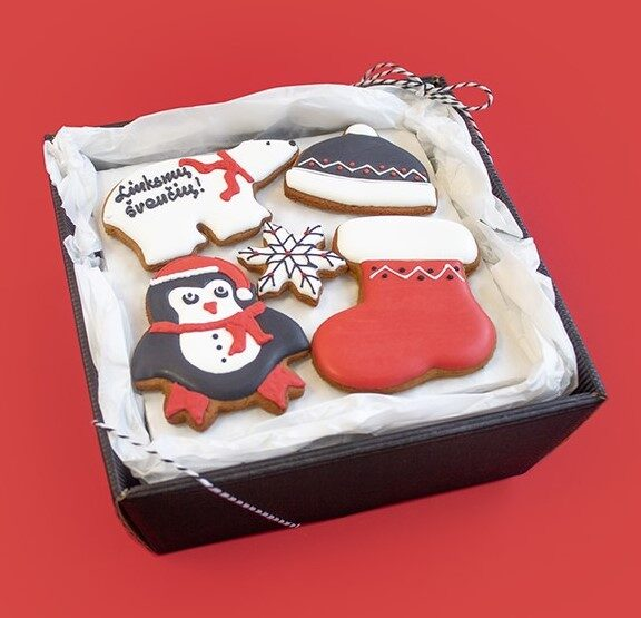 Kalėdinė dovana pingvinas su meška (meduoliai)