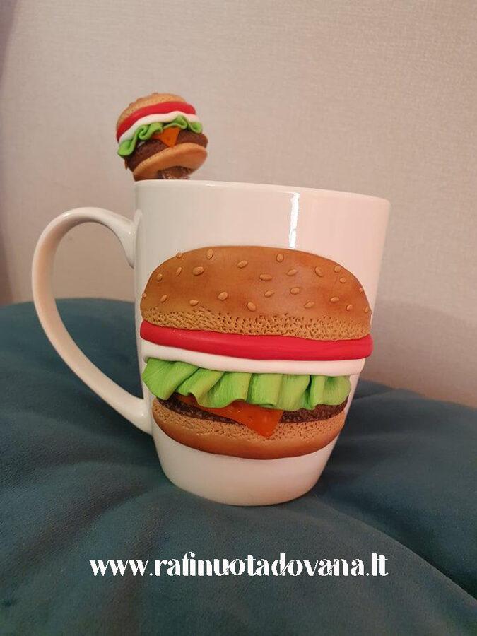 Dekoruotas puodelis su šaukšteliu - Mėsainis