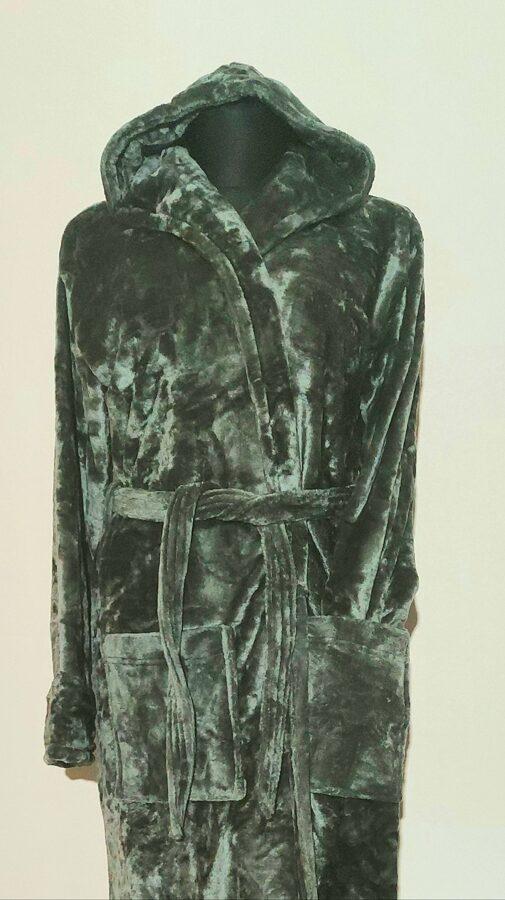 Bambuko pluošto siuvinėtas chalatas Nr. 2 (Su Jūsų tekstu) YRA SPALVŲ PASIRINKIMAS