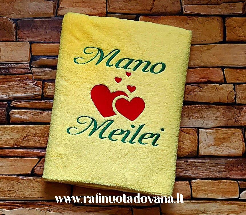 Siuvinėtas pliušinis rankšluostis (geltonas)