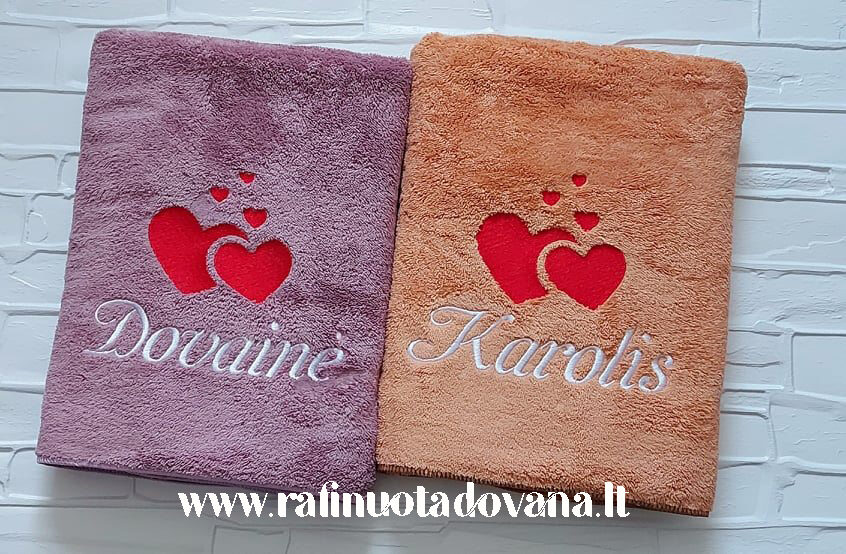 Siuvinėtas pliušinis rankšluostis (violetinis arba oranžinis)