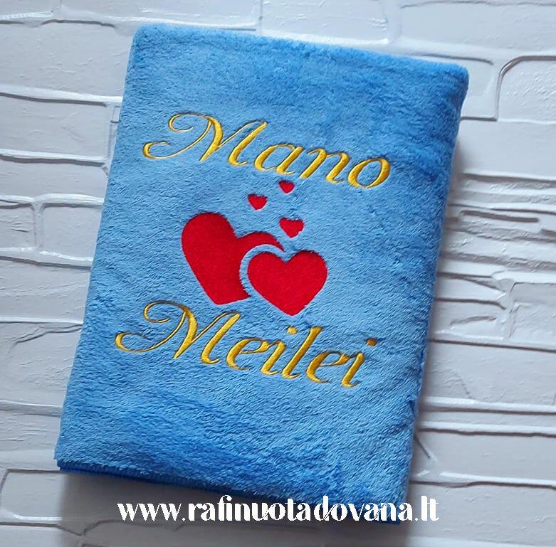 Siuvinėtas pliušinis rankšluostis (melsvas)