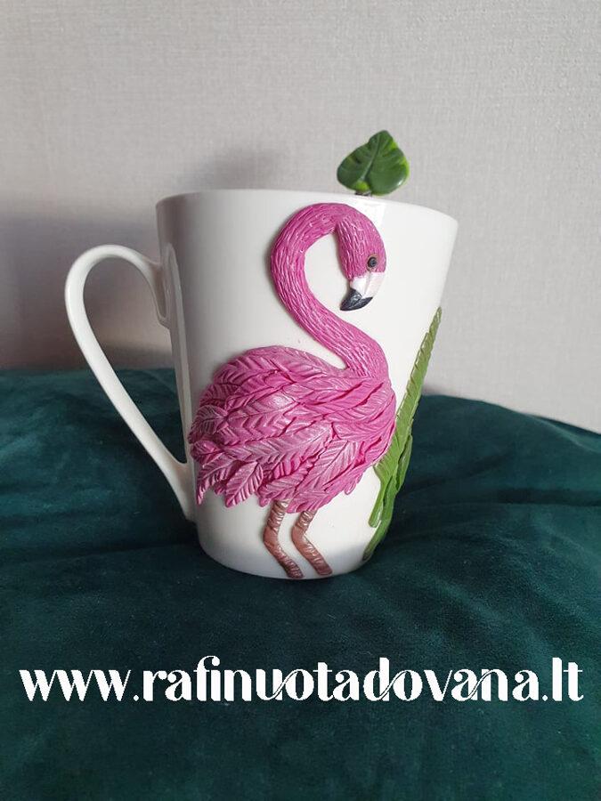 Dekoruotas puodelis ir šaukštelis FLAMINGAS