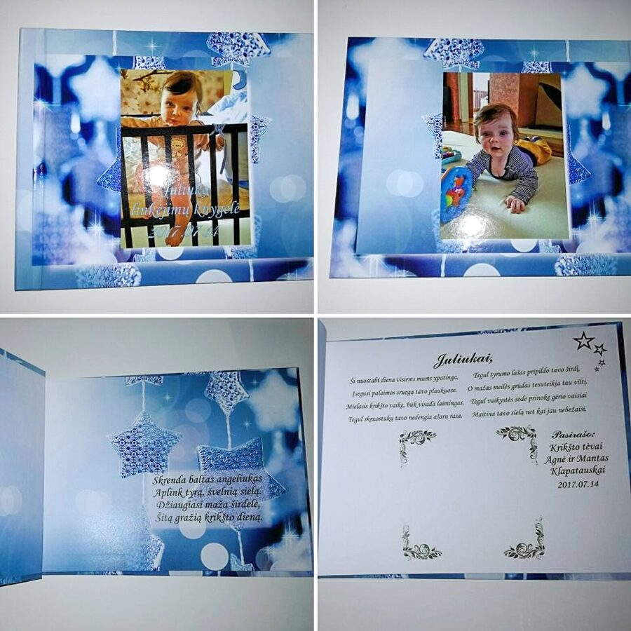 """Krikštynų knyga su spaudos viršeliu A4 formato """"Žvaigždės"""""""