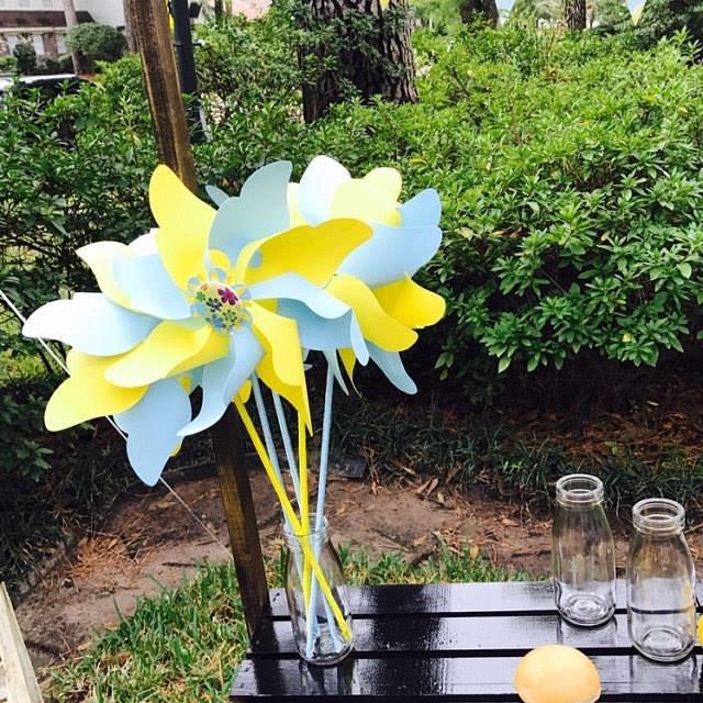 Vėjo malūnėliai (šviesiai mėlyni su geltonu)