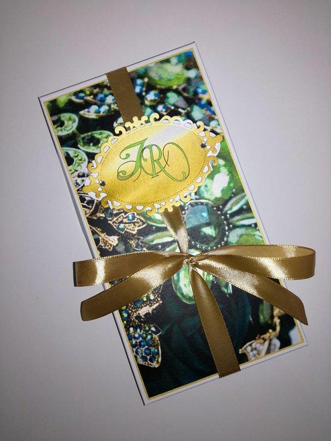 Kvietimas arba padėka liudininkams (smaragdinės ir auksinės spalvų derinys)