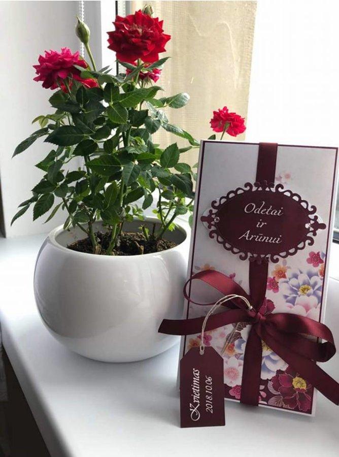 Kvietimas arba padėka liudininkams (burgundiškas su gėlytėmis)