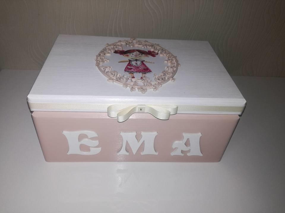 Dėželė Ema (white ir cappuccino spalvų derinys)