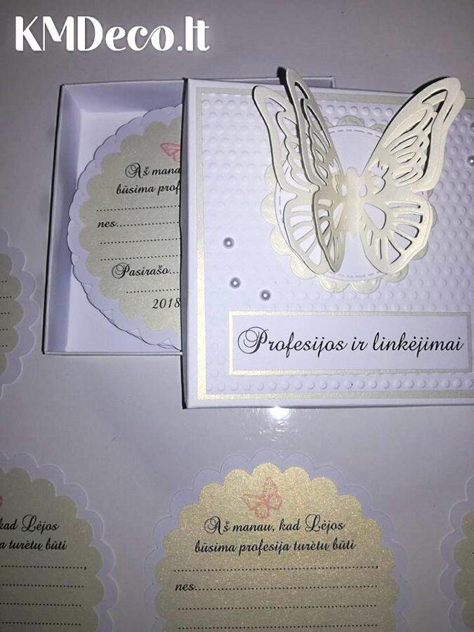Pasižadėjimų ir/arba linkėjimų ir/arba profesijų kortelės (Baltos su šampaniniu atspalviu)
