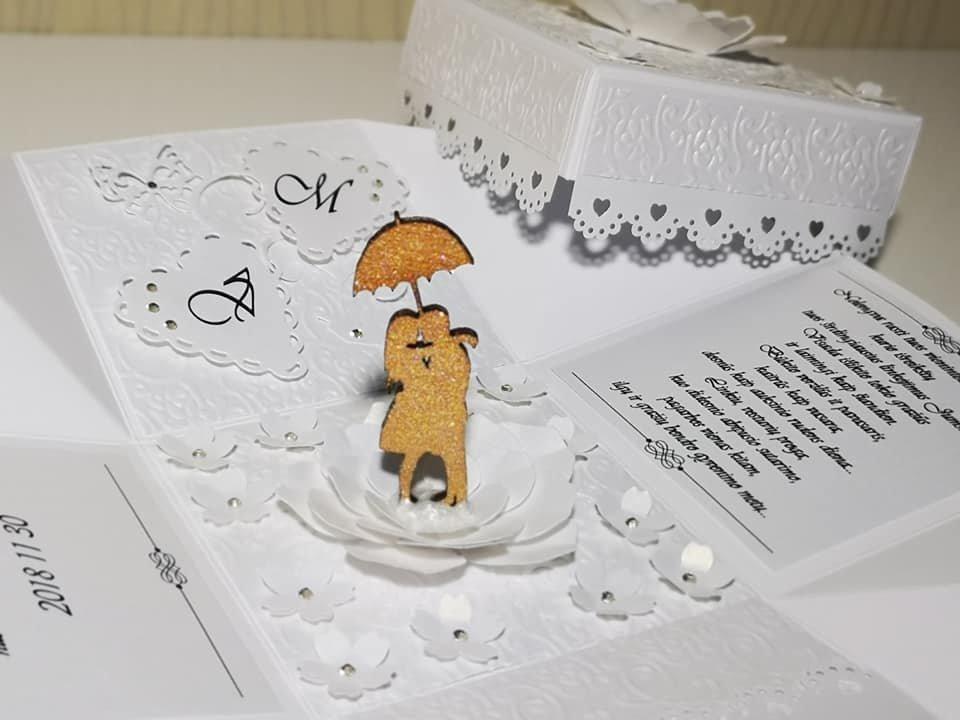 Vestuvių dėžutė atvirutė - pinigų vokelis