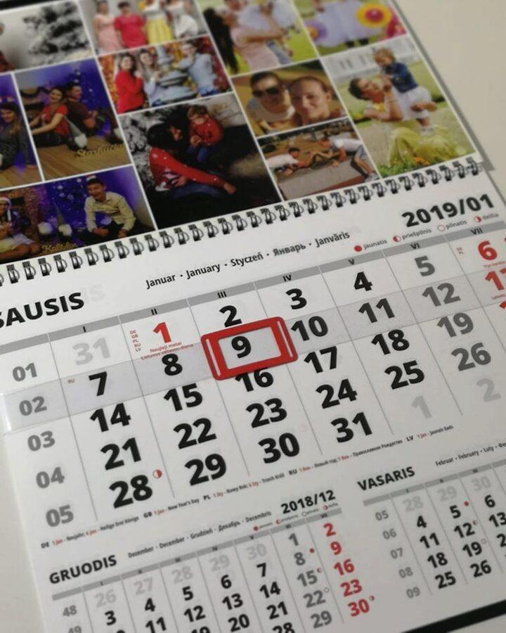 Vienos dalies pakabinamas kalendorius