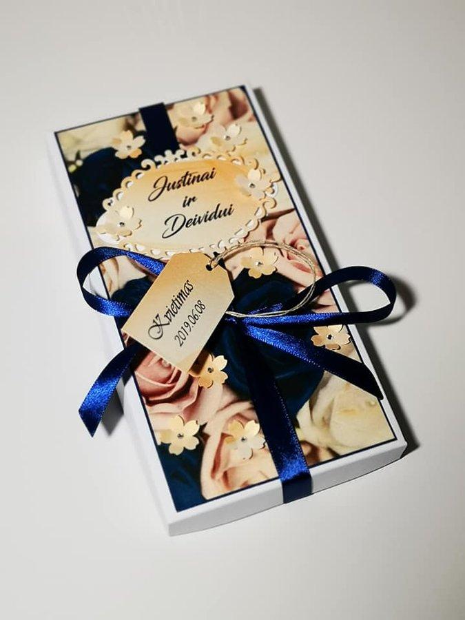 Kvietimas arba padėka liudininkams (persikinės ir mėlynos spalvų derinys)