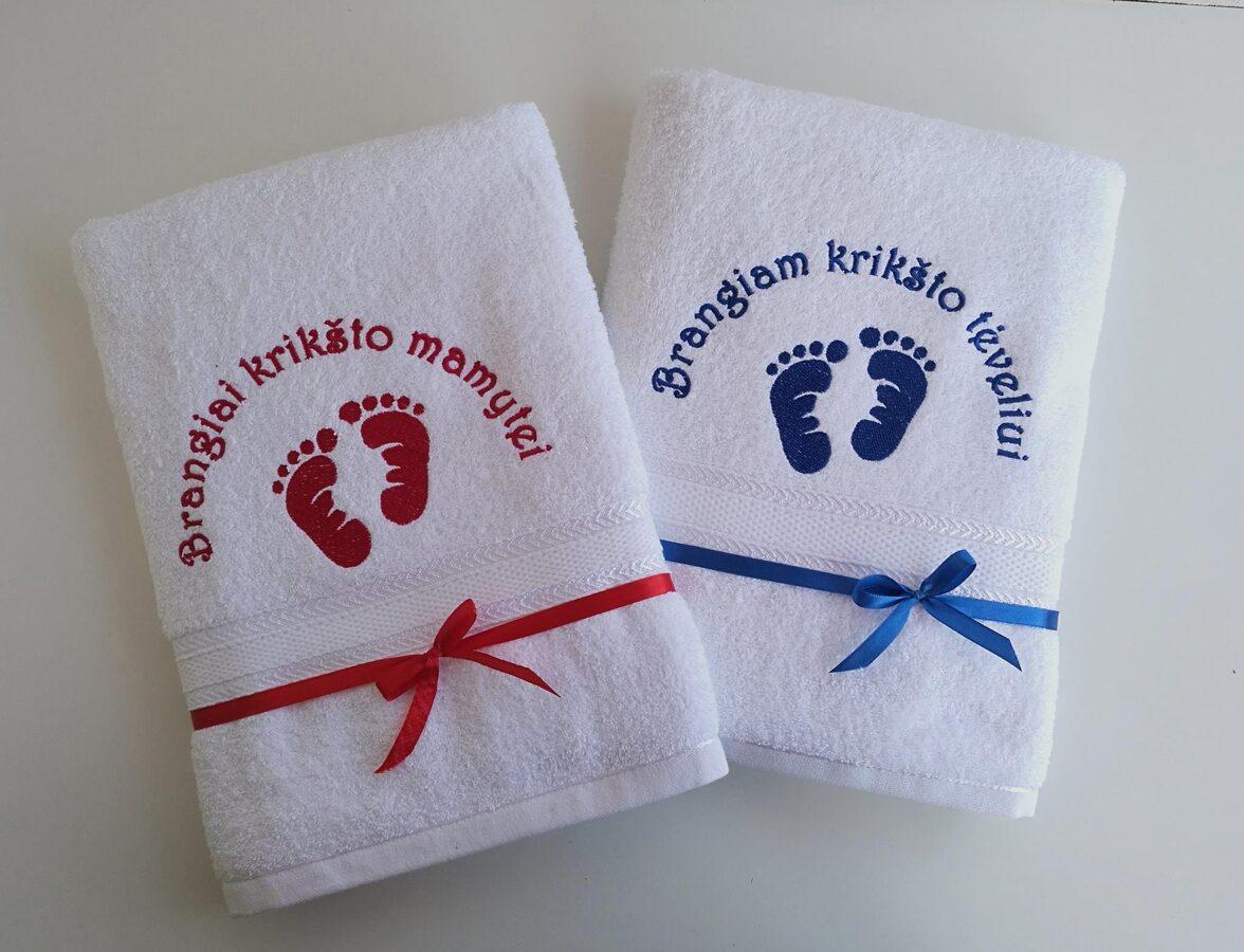 Siuvinėti rankšluosčiai (pėdutės)