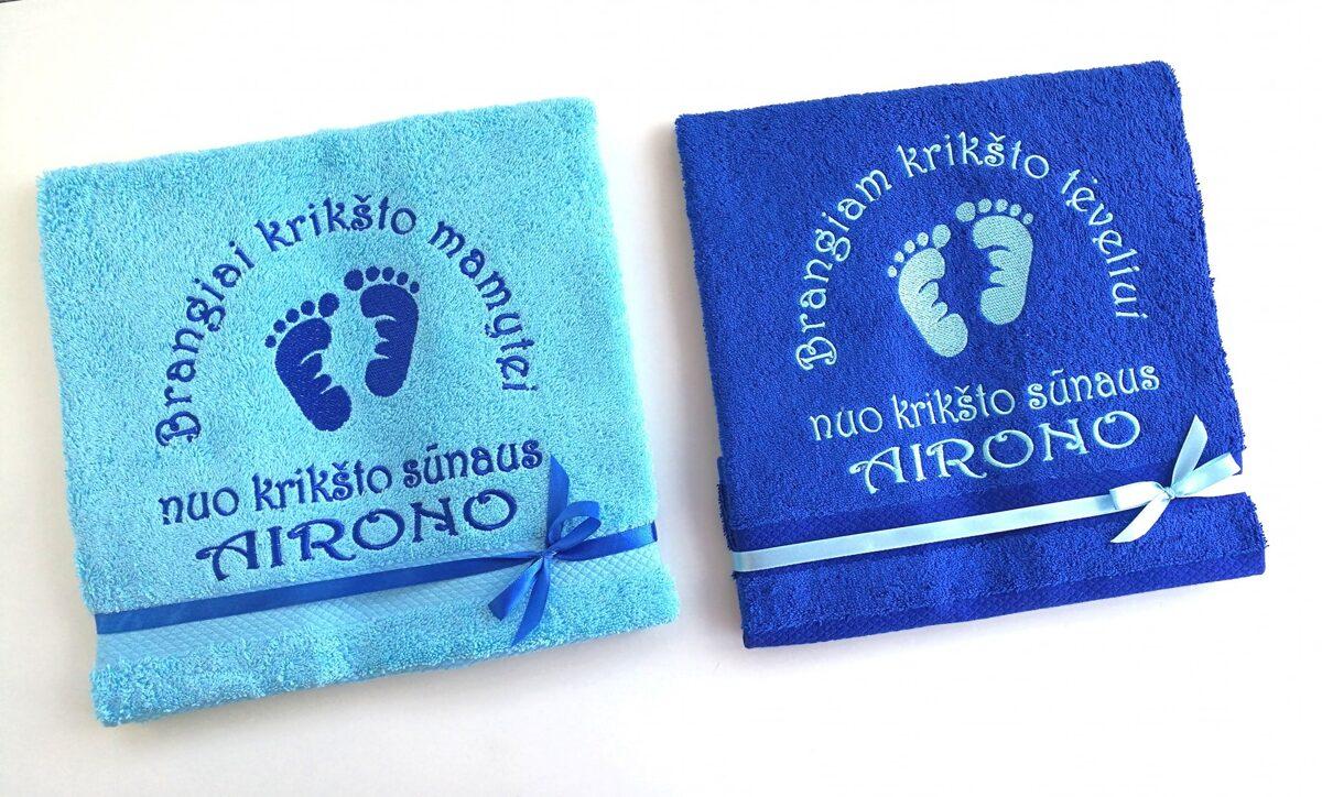 Siuvinėti rankšluosčiai (pėdutės/mėlyni)