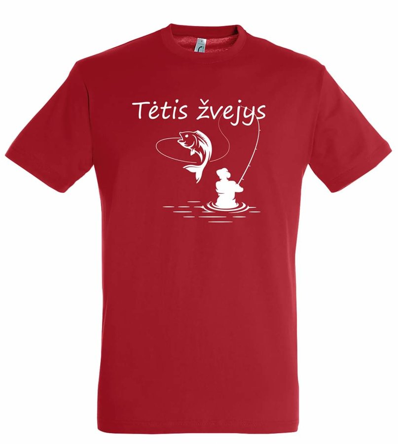 Marškinėliai Tėtis žvejys (raudoni)