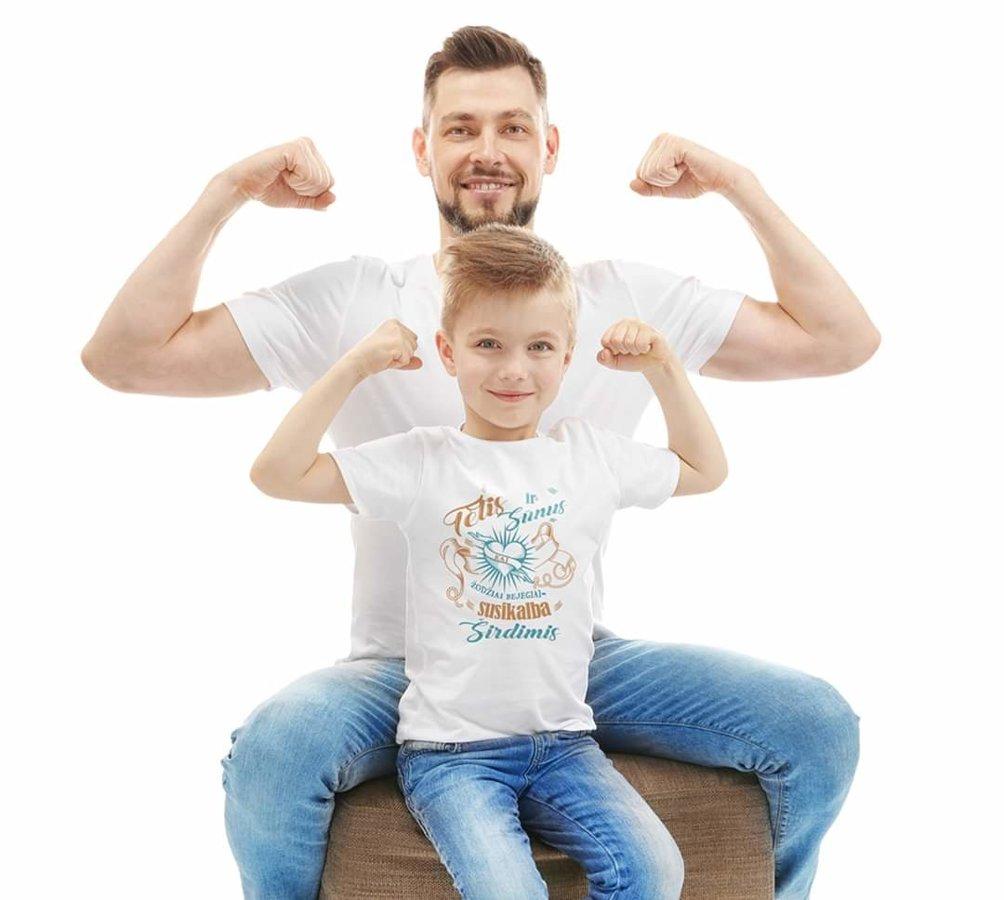Marškinėliai - Tėtis ir sūnus (vaikiški balti)