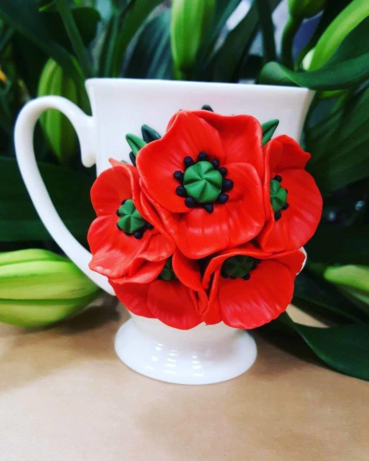 Dekoruoti puodeliai GĖLĖS