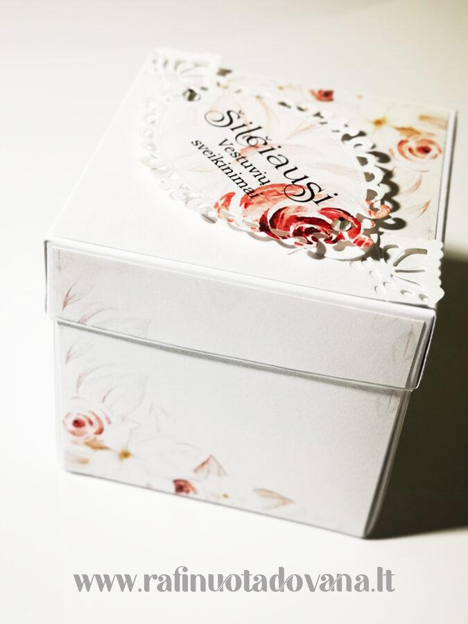 Vestuvinė Dėžutė - atvirutė (Gėlės)