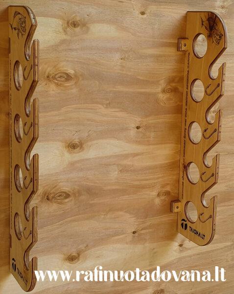 Meškerių laikiklis 5 arba 9 meškerėms, tvirtinamas prie sienos arba lubų