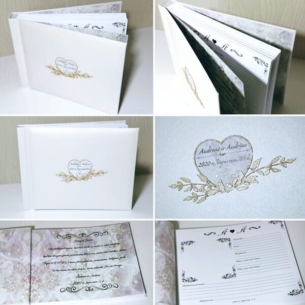 Balta, lygaus viršelio knyga vestuvėms