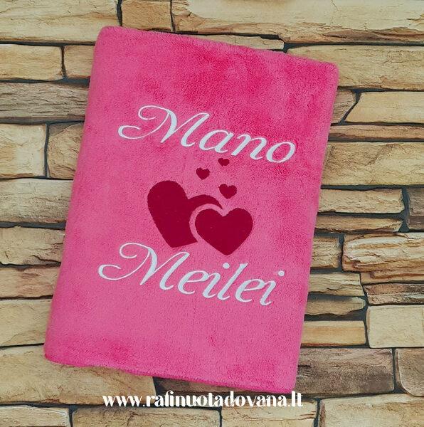 Siuvinėtas pliušinis rankšluostis (rožinis)