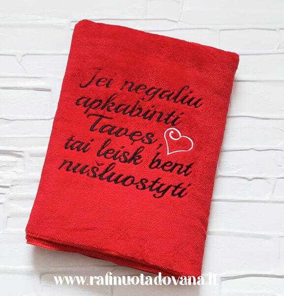 Siuvinėtas pliušinis rankšluostis (raudonas)