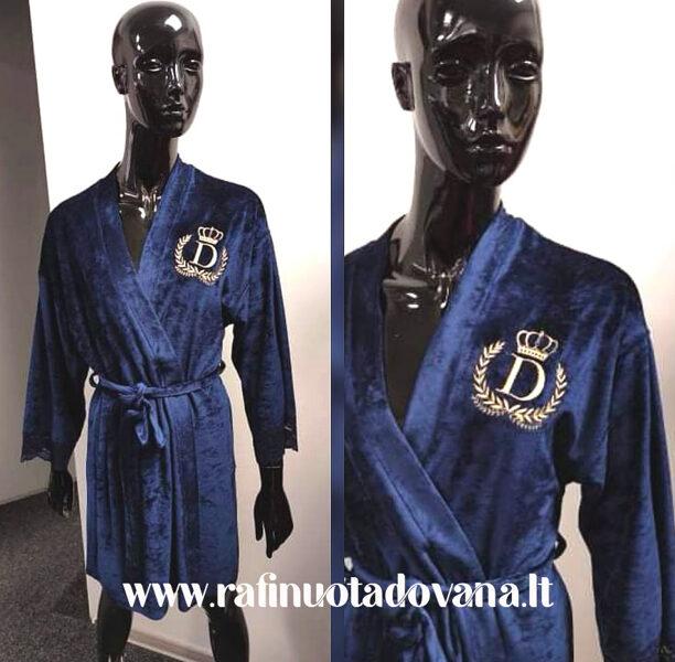 Tamsiai mėlynos spalvos chalatas su siuvinėta raide ar inicialais (SU KARŪNA)