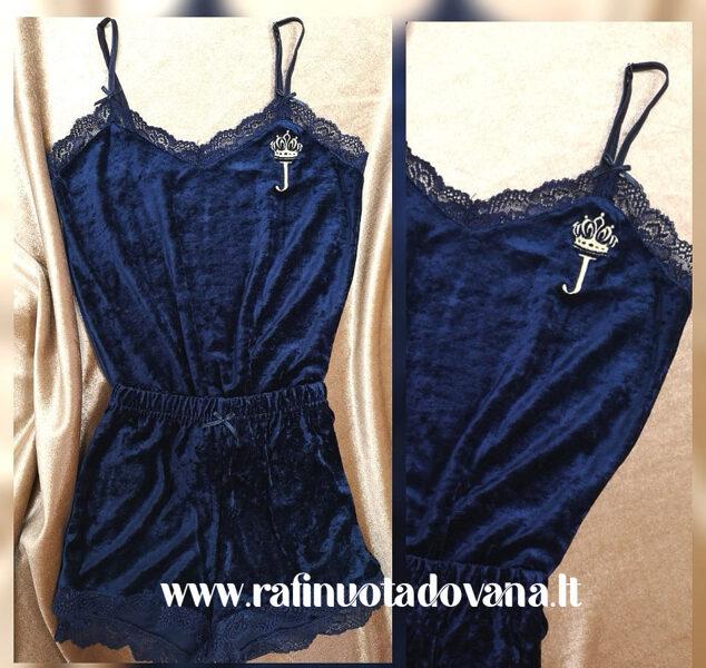 Tamsiai mėlynos spalvos pižama su siuvinėta raide ar inicialais