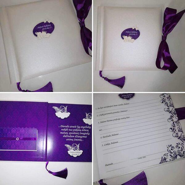 Krikštynų knyga su angeliuku (violetinė)