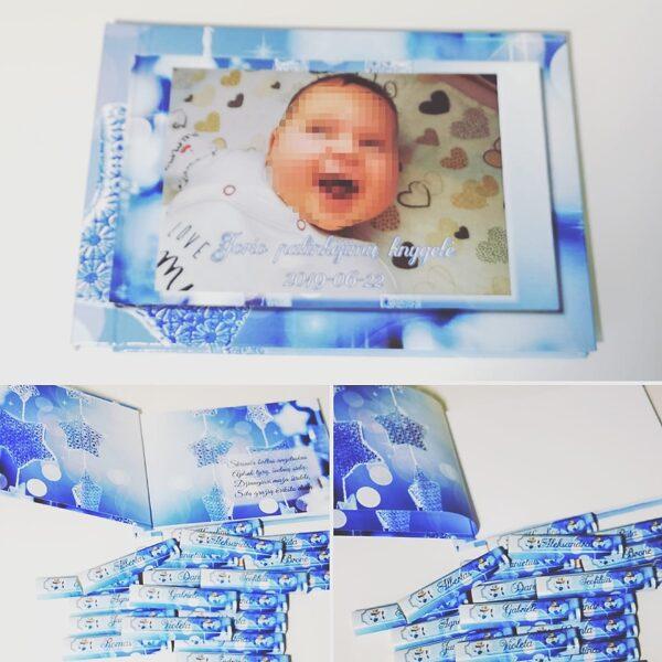 """Krikštynų knyga su spaudos viršeliu A5 formato """"Žvaigždės"""""""