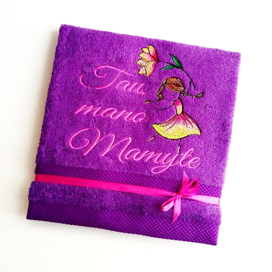 Siuvinėtas rankšluostis Tau mano Mamyte (violetinis)