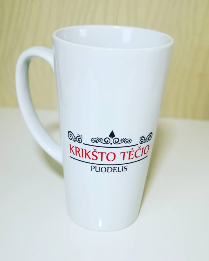 Didelis Latte puodelis Krikšto Tėčiui ir/arba Krikšto Mamai