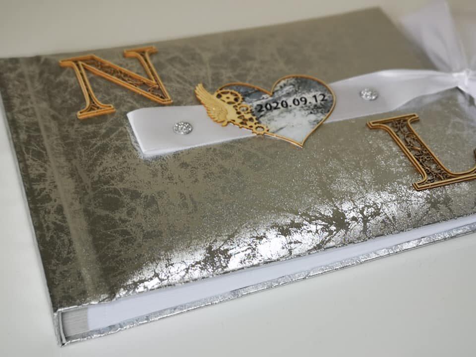 Marmūrinis vestuvių albumas - svečių linkėjimų knyga