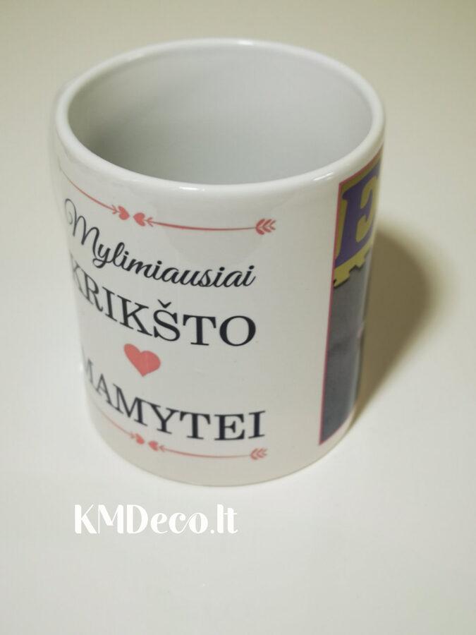 Baltas puodelis Krikšto mamytei